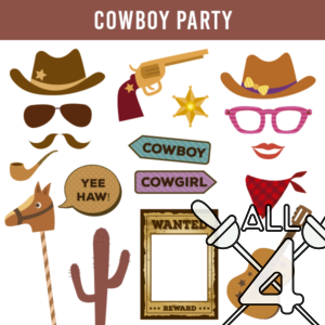 digital props, cowboy party, cowboy