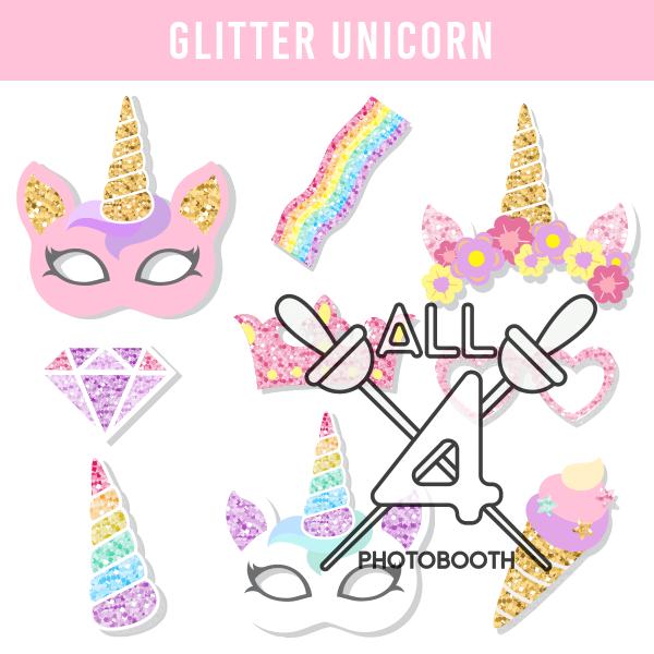 digital props, glitter unicorn, unicorn