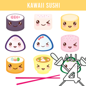digital props, kawaii sushi, kawaii