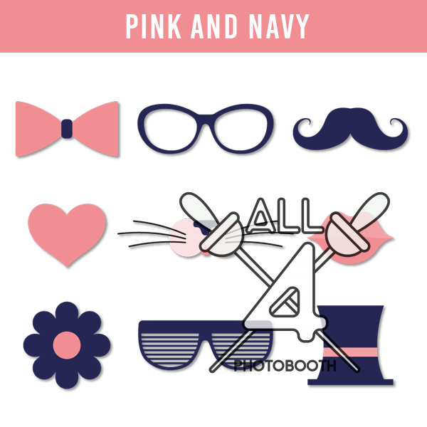 digital props, pink and navy, pink, navy